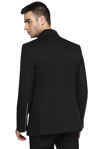 Black Embroidered Double Breasted Blazer by NOONOO