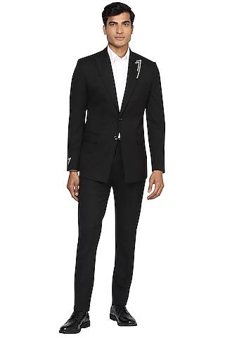 Black Zari Embroidered Blazer Set by NOONOO