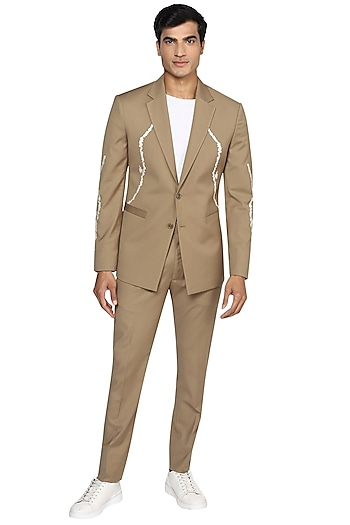 Beige Embroidered Notched Lapel Blazer Set by NOONOO