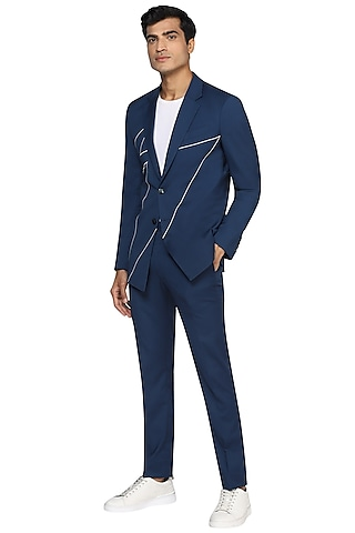 Airforce Blue Thunder Line Embroidered Blazer Set by NOONOO