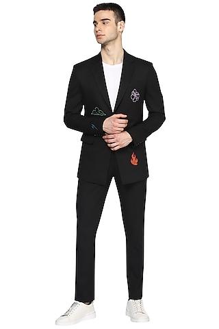 Black Embroidered Blazer Set by NOONOO