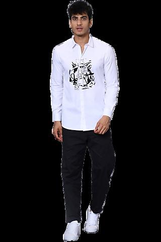 White Printed Shirt by NOONOO