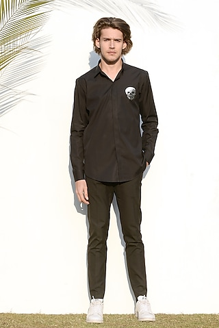 Black Machine Embroidered Shirt by NOONOO