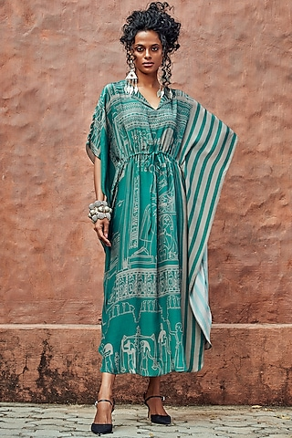 Teal Blue Printed Kaftan by Nautanky By Nilesh Parashar