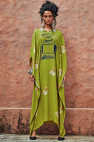 Green Heart Printed Kaftan by Nautanky By Nilesh Parashar