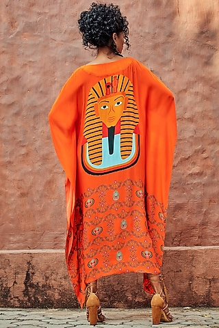 Orange Printed Kaftan by Nautanky By Nilesh Parashar