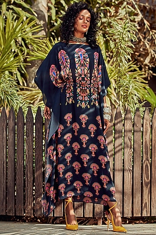Navy Blue Tropical Printed Kaftan by Nautanky By Nilesh Parashar