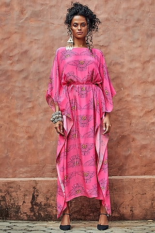 Hot Pink Printed Kaftan by Nautanky By Nilesh Parashar