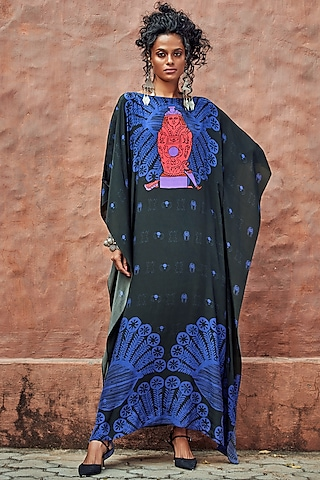 Black Printed Kaftan With Tie-Up by Nautanky By Nilesh Parashar