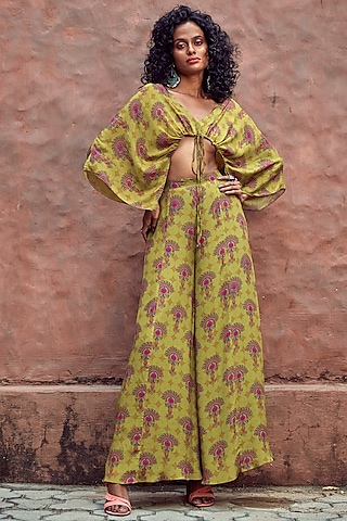 Green Printed Kaftan With Pants by Nautanky By Nilesh Parashar