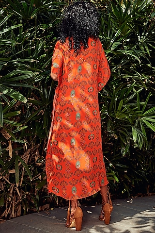 Orange Wrap Around Kaftan by Nautanky By Nilesh Parashar