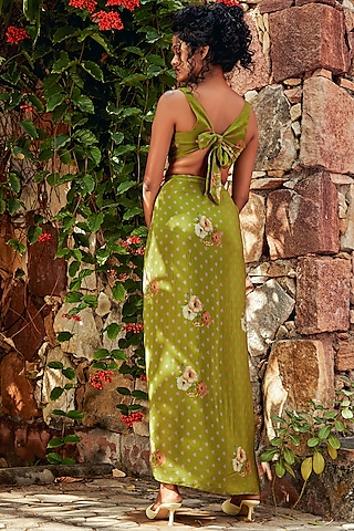 Green Skirt Set With Print by Nautanky By Nilesh Parashar