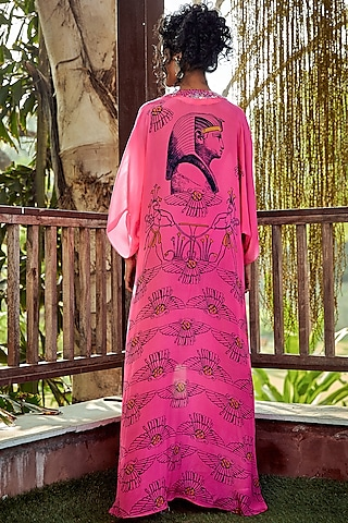 Hot Pink Printed Kaftan With Bikini Top by Nautanky By Nilesh Parashar