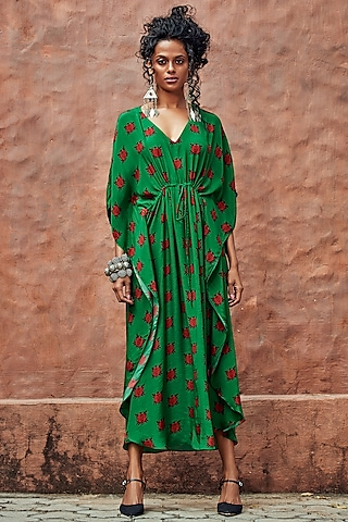 Green Printed High-Low Kaftan by Nautanky By Nilesh Parashar