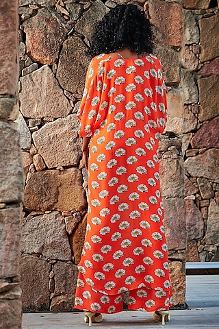 Orange Printed Cape Set by Nautanky By Nilesh Parashar