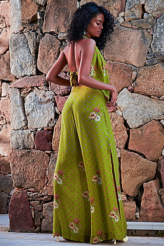 Green Printed Pants Set by Nautanky By Nilesh Parashar