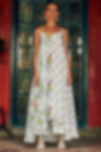 White Half & Half Maxi Dress by Nautanky By Nilesh Parashar