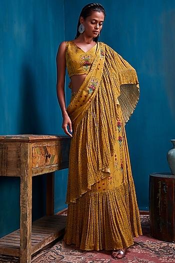 Mustard Green Skirt Set by Nautanky By Nilesh Parashar