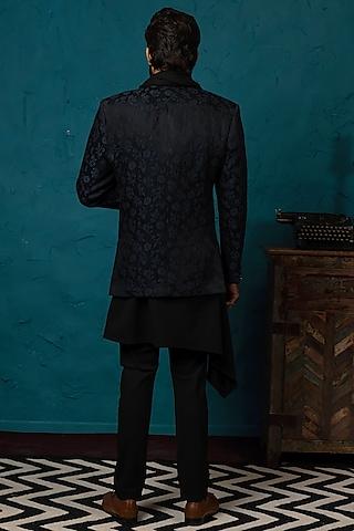 Black Jacquard Bandhgala Jacket Set by Nautanky By Nilesh Parashar Men