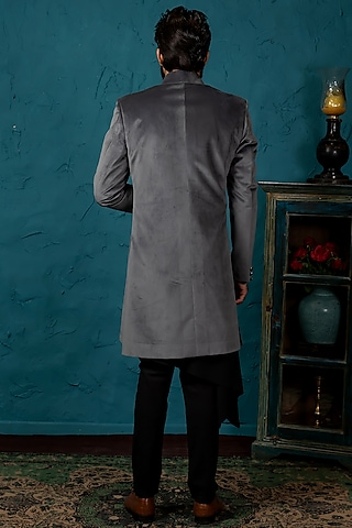 Grey & Black Jacket Set by Nautanky By Nilesh Parashar Men