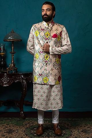 Blush Pink Printed Koti Jacket Set by Nautanky By Nilesh Parashar Men