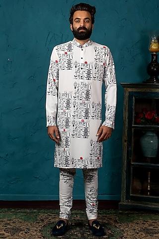 Black & White Printed Kurta Set by Nautanky By Nilesh Parashar Men