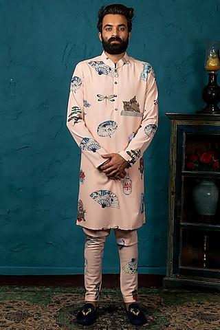 Blush Pink Silk Kurta Set by Nautanky By Nilesh Parashar Men