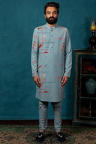 Greyish Blue Printed Kurta Set by Nautanky By Nilesh Parashar Men
