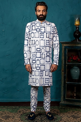 White & Blue Printed Kurta Set by Nautanky By Nilesh Parashar Men
