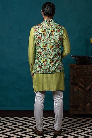 Light Green Printed Koti Jacket Set by Nautanky By Nilesh Parashar Men