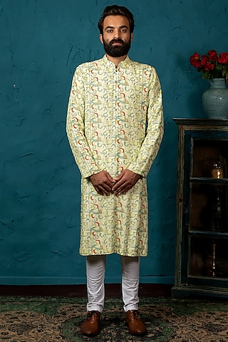 Pastel Green Printed Kurta Set by Nautanky By Nilesh Parashar Men
