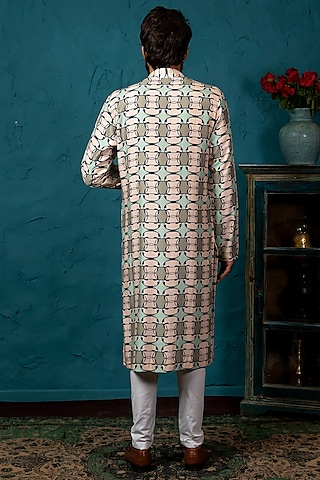 Beige Printed Cotton Silk Kurta Set by Nautanky By Nilesh Parashar Men