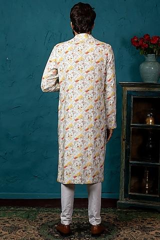 Beige Cotton Silk Kurta Set by Nautanky By Nilesh Parashar Men