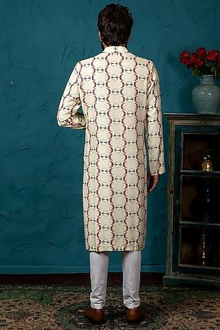 Beige Cotton Silk Kurta Set With Print by Nautanky By Nilesh Parashar Men
