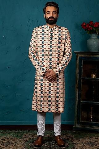 Blush Pink Cotton Silk Kurta Set With Print by Nautanky By Nilesh Parashar Men