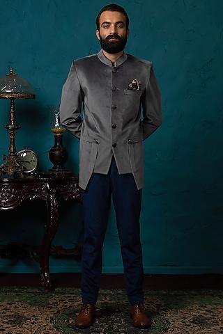 Grey & Blue Jodhpuri Jacket Set by Nautanky By Nilesh Parashar Men