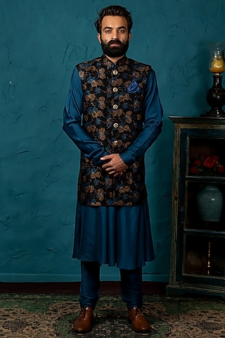 Black & Blue Koti Jacket Set by Nautanky By Nilesh Parashar Men
