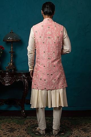 Blush Pink & Beige Koti Jacket Set by Nautanky By Nilesh Parashar Men