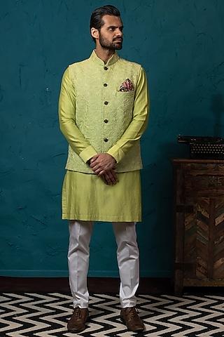 Pista Green Lucknowi Koti Jacket Set by Nautanky By Nilesh Parashar Men