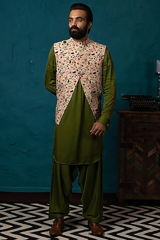 Beige & Olive Koti Jacket Set by Nautanky By Nilesh Parashar Men