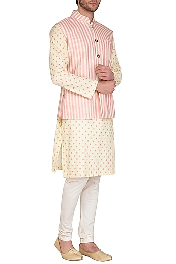 Beige & Blush Pink Printed Jacket With Kurta Set by Nautanky By Nilesh Parashar Men