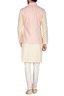 Beige & Blush Pink Printed Jacket With Kurta Set by Nautanky By Nilesh Parashar Men