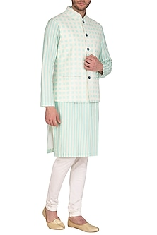 Mint Blue Printed Jacket With Kurta Set by Nautanky By Nilesh Parashar Men