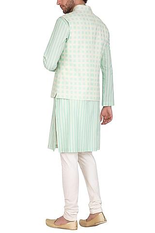 Mint Blue Printed Jacket With Kurta Set by Nautanky By Nilesh Parashar Men