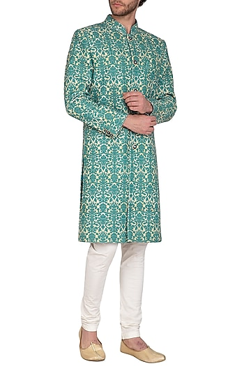 Turquoise Printed Sherwani Set by Nautanky By Nilesh Parashar Men