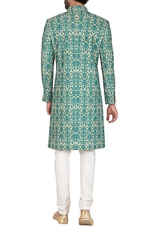 Turquoise Printed Sherwani Set by Nautanky By Nilesh Parashar Men