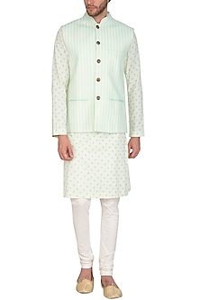 Mint Blue Printed Jacket With Beige Kurta Set by Nautanky By Nilesh Parashar Men