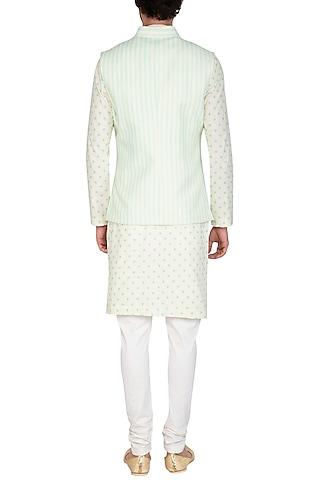Mint Blue Printed Jacket With Beige Kurta Set by Nautanky By Nilesh Parashar Men