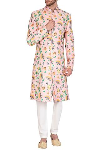 Blush Pink Foil Printed Sherwani Set by Nautanky By Nilesh Parashar Men