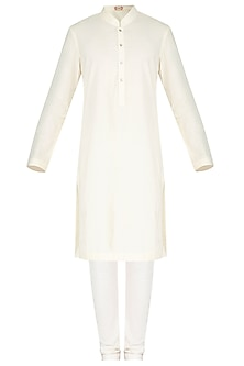 Off White Khadi Kurta Set by Nautanky By Nilesh Parashar Men